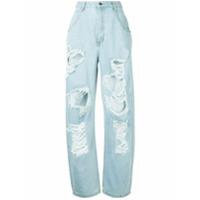 Pony Stone Calça Jeans Cintura Alta - Azul