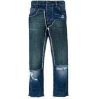 Dolce & Gabbana Calça Jeans Cropped Com Patch - Azul