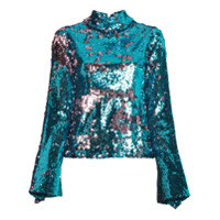 Halpern Blusa Com Paetês - Azul
