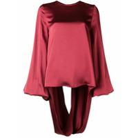 Rouge Margaux Blusa Com Drapeado - Vermelho