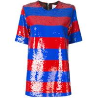 Halpern Camiseta Listrada Com Paetês - Vermelho