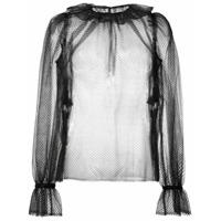 Dolce & Gabbana Blusa Translúcida Com Babado - Preto