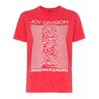 R13 Joy Division Distressed Cotton T-Shirt - Vermelho