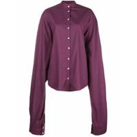 Rouge Margaux Camisa Oversized Gola Mandarim - Rosa