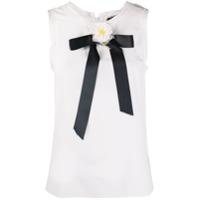 Dolce & Gabbana Blusa De Seda Com Detalhe De Aplicação Floral - Branco