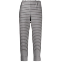 Issey Miyake Striped Cropped-Length Trousers - Cinza