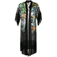 Alberta Ferretti Kimono De Seda Com Bordado Floral - Preto