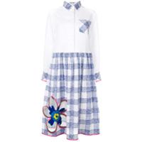Mira Mikati Flower Embroidered Shirt Dress - Branco