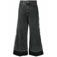Stella Mccartney Calça Jeans Pantalona Com Logo E Listras - Preto