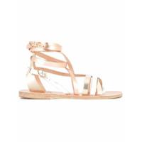 Ancient Greek Sandals Sandália Rasteira Com Tiras No Tornozelo - Metálico
