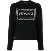 Versace Suéter De Lã Com Logo - Preto
