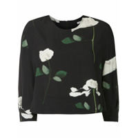 Osklen Blusa Cropped Rose Glitch - Preto