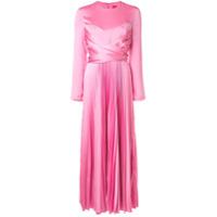 Solace London Vestido Longo Com Pregas - Rosa