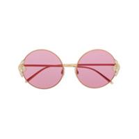 Dolce & Gabbana Eyewear Óculos De Sol Redondo Com Aplicação De Pérolas - Dourado