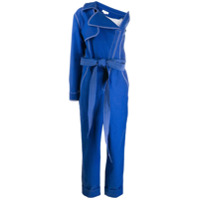 Genny Contrast Stitch One-Sleeve Jumpsuit - Azul