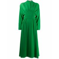 Emilia Wickstead Vestido Midi Com Pregas - Verde