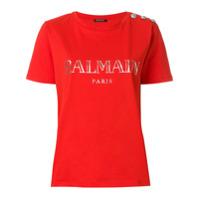 Balmain Camisa Com Aplicação - Vermelho