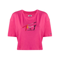 Tommy Jeans Camiseta Cropped - Rosa