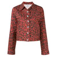 Miaou Jaqueta Jeans Com Animal Print - Vermelho