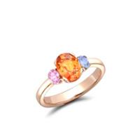 Pragnell Anel Rainbow Fancy Three-Stone De Ouro Rosé 18K Com Safira - Rosa