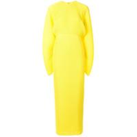 Solace London Vestido Mangas Longas Com Pregas - Amarelo