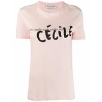 Être Cécile Camiseta Com Logo Contrastante - Rosa