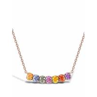 Pragnell Colar Com Pingente Rainbow Fancy De Ouro Rosé 18K Com Safira - Rosa