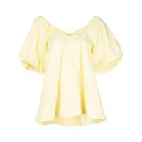 Co Blusa Gola V Com Mangas Bufantes - Amarelo