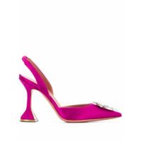 Amina Muaddi Sapato De Saltp Com Tira Posterior - Rosa