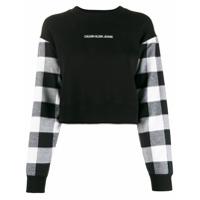 Calvin Klein Jeans Moletom Com Recorte Xadrez - Preto