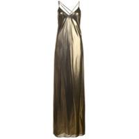 Michelle Mason Vestido Longo De Seda - Metálico