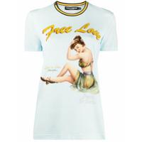 Dolce & Gabbana Camiseta Free Love Com Estampa - Azul