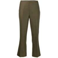 Berwich Houndstooth Cropped Trousers - Verde