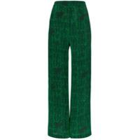 Chufy Calça Pantalona Estampada - Verde