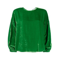 Roseanna Velvet Dropped Shoulder Top - Verde