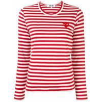 Comme Des Garçons Play Camiseta Com Listras E Patch De Logo - Vermelho