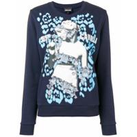 Just Cavalli Suéter Com Estampa De Logo - Azul