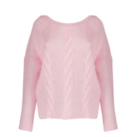 Black Coral Crew-Neck Cable Knit Sweater - Rosa