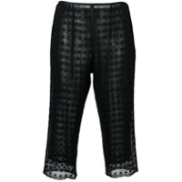 Marc Jacobs Embroidered Cropped Trousers - Preto