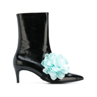 Leandra Medine Ankle Boot 'flower' De Couro Envernizado - Preto