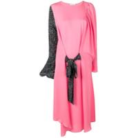 Jw Anderson Vestido De Seda Com Contraste - Rosa