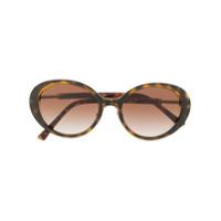 Bulgari Óculos De Sol Oval Em Acetato E Metal - Marrom