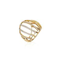 Corsage Anel Ouro Amarelo Com Diamantes - Dourado