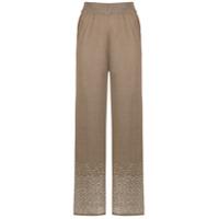 Mara Mac Calça Pantalona De Tricô - Marrom