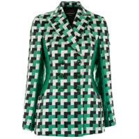 Emporio Armani Blazer Xadrez Com Recortes - Green