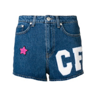 Chiara Ferragni Short Jeans Com Patches - Azul
