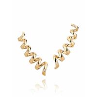 Corsage Par De Brincos Em Ouro Com Diamantes - Dourado