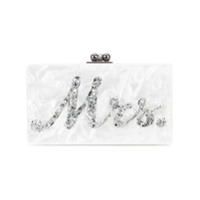 Edie Parker Marble Effect Boxy Clutch - Branco