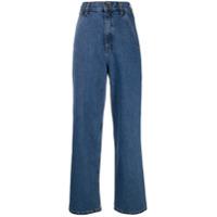 12 Storeez Calça Jeans Pantalona Cintura Alta - Azul