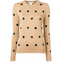 Oscar De La Renta Sequin Polka-Dot Sweater - Neutro